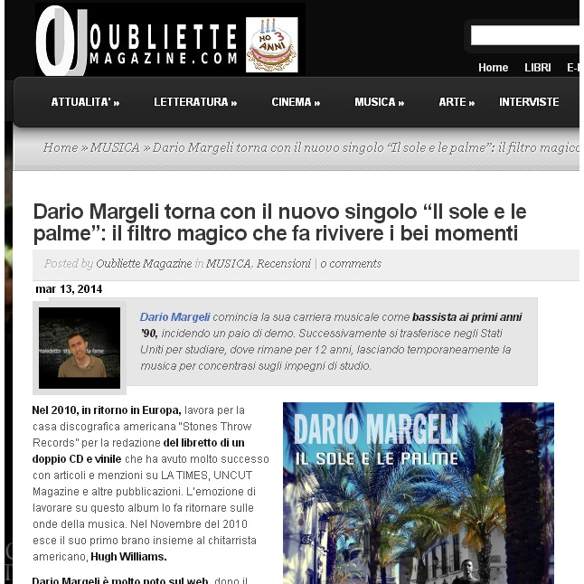 article on my new song on Oubliette
