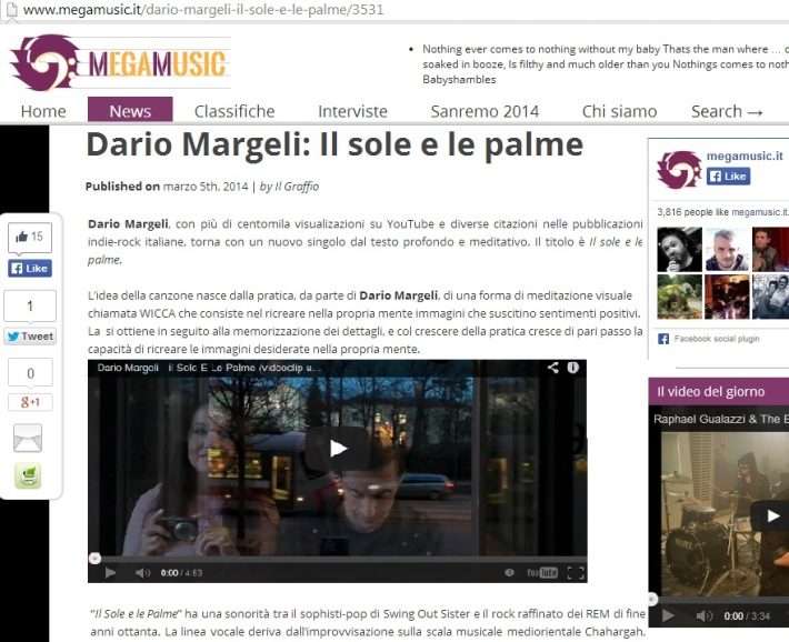News sul giornale musical MegaMusic.It