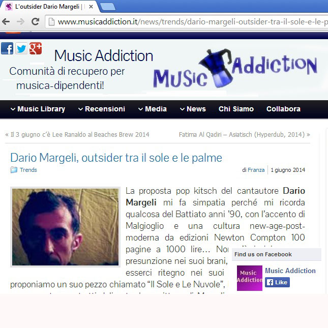 Music Addiction Italia talking about my song Le Palme